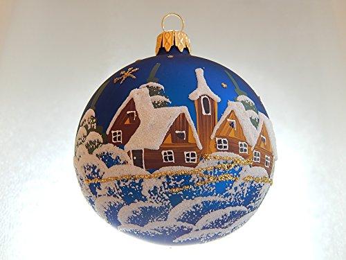 SCHÄFER GLAS SHOP, Christbaumkugel, BLAU, handbemalt, 8 cm,