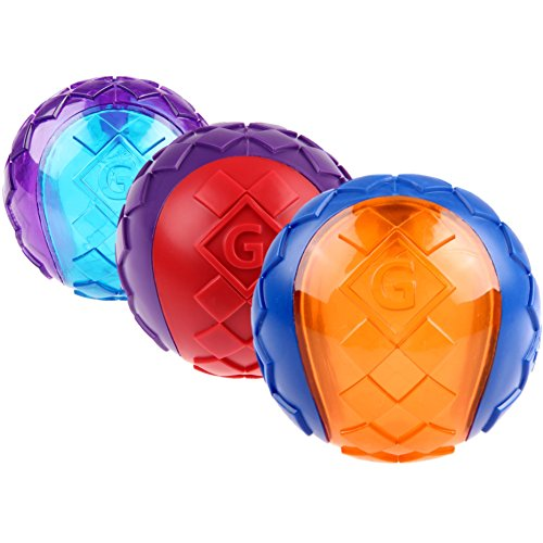 GiGwi 6409 Hundespielzeug schwimmfähiger G-Ball mit Quietscher, 3-er Pack, Hundeball / Spielball, S