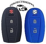 #3: Car Silicone Key Cover for Push Button Remote Key Shell/Case/Body for Maruti Suzuki New Baleno + Ciaz + Vitara Brezza + S-Cross + New Swift ZDI…Pack of 2 by PERFECTSHOPPE