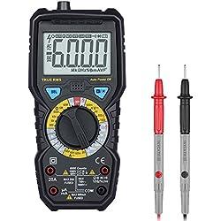 Multímetro Digital Portátil Profesional 1000V 6000 Cuentas Polimetro con Fusibles duales Pantalla LCD Retroiluminada, Probador de Voltaje AC / DC, Corriente DC / DC, Resistencia, Continuidad, Temperatura NCV