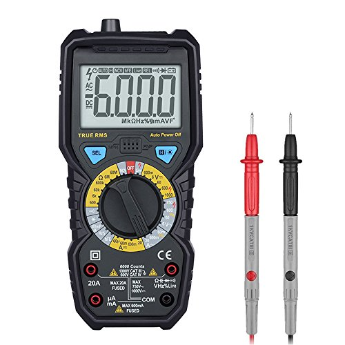Profi Digital Multimeter hintergrundbeleuchtetem LCD-Display mit 6000 Counts Spannungsmesser Spannungs- und Stromprüfer Widerstand Kapazität, Frequenz Durchgang Messgerät mit akustischer und optischer Rückmeldung