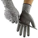 Resistente a los cortes guantes PPE nivel 5protección–EN388certificado–Guantes de seguridad para cortar y cortar–Alto rendimiento–4colores–tamaño S/M/L/XL, White Border, 7(Small)