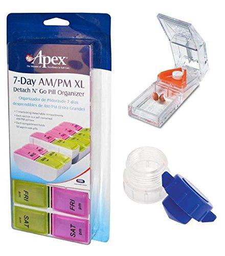 Pillendose für 7 Tage AM/PM XL + Deluxe-Tablettenspalter mit Pillengriff + Pillenzerkleinerer/Pulverizer - Pm Pillendose