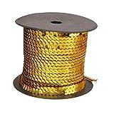 Pixnor 6mm lentejuelas ajuste cinta lentejuelas metálicas en una cadena para manualidades DIY atuendo dorado