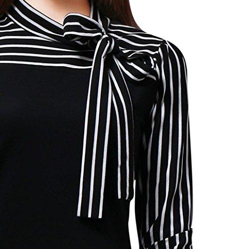 GJKK Bluse Elegant Damen Herbst Tie-Bow Neck Striped Langarm Spleiß Shirt Damen Bluse Oberteil Tops Tunika Lose Hemd -