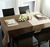 LIVEINU Decorativo Tovaglia con Moderno Striscia e Ricamo Facile da Pulire Rettangolare Tovaglia Lavabile Arazzo per Tavolo da Cucina 130x160cm Caffè e Beige