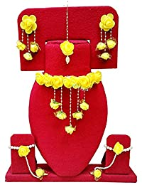 Oviya Floret Yellow Color Gota Patti Necklace, Earrings, Haath Paan With Finger Ring & Maang Tika For Women &...