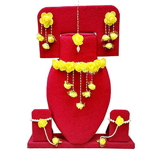 Oviya Floret Yellow Color Gota Patti Necklace, Earrings, Haath Paan with Finger...