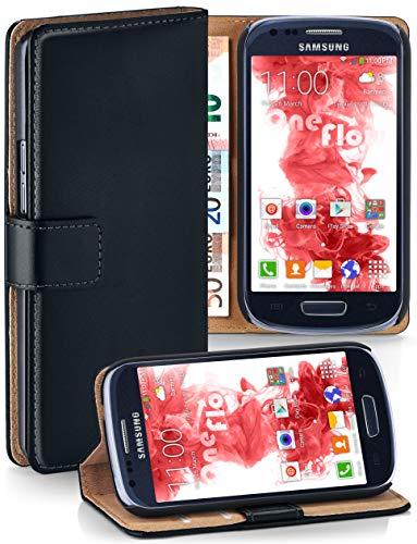 moex® Booklet mit Flip Funktion [360 Grad Voll-Schutz] für Samsung Galaxy S3 Mini   Geldfach und Kartenfach + Stand-Funktion und Magnet-Verschluss, Schwarz