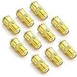 deleyCON F-Quick Stecker Schnellverbinder F-Buchse auf F-Stecker F-Quick Stecker auf F-Kupplung ohne Schrauben Vergoldet - 10 Stück