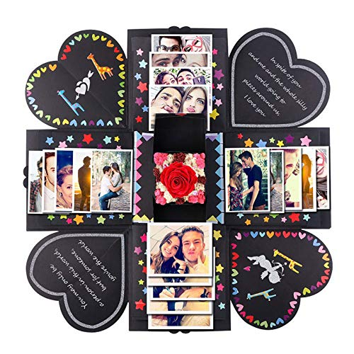Pannow Caja de explosiones Bricolaje álbum de Fotos Hecho a Mano Scrapbooking Caja de Regalo para el Día de San Valentín Caja de Boda Fiesta de cumpleaños Regalo Sorpresa Festival (Negro)