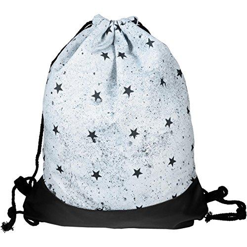 cosey - Zaino a sacca stampato alla moda - Design Black Stars con fondo rinforzato in pelle