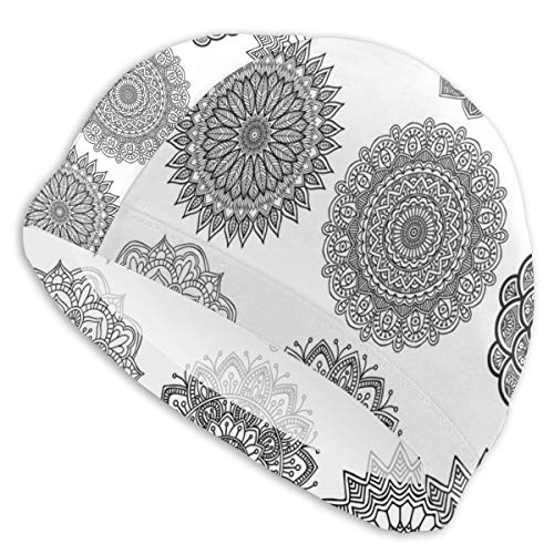 GUUi Swimming Cap Elastic Swimming Hat Diving Caps,Ornamental Mandala Design Symmetric Ethnic Motifs Eastern Arabic Ottoman Inspiration,for Men Women Youths - Chair Ottoman Couch