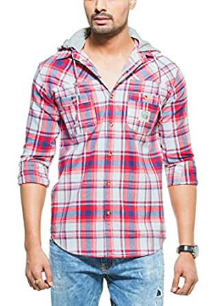 Zovi Cotton Slim Fit Casual Flannel Red Checkered Shirt With Detachable Hood (11377306801_39)