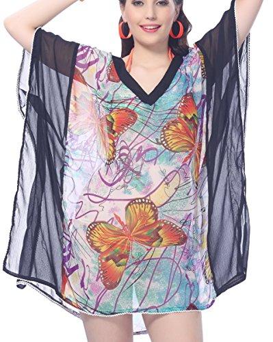 La Leela leichte Chiffon fliegenden Schmetterling 5 in 1 Robe Lounge Abnutzung beiläufiges Kleid Badeanzug Tunika tief Hals Bademoden Plus szie maxi Kaftan Beach-Party am Pool Damen-Bikini-Vertuschung Schwarz