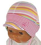 Maximo Mädchen Mütze Babymütze mit Schirm Ringel Rosa, Gr. 37,UV-Schutz 50+ (Größen 33 bis 45)
