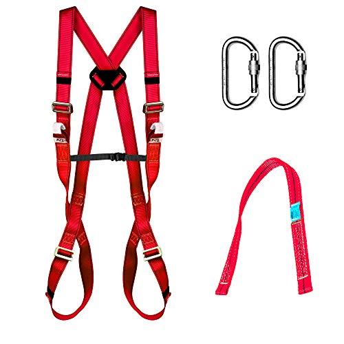 Kit di protezione anticaduta: Imbracatura con 2 punti di ancoraggio EN361 + nastro ancoraggio EN354+ 2 moschettoni di sicurezza EN362. 031053001001