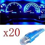 Ancdream 20x Ampoule LED Bleu T5 12V Pour Compteur Tableau De Bord Ampoule Lampe Voiture Feux