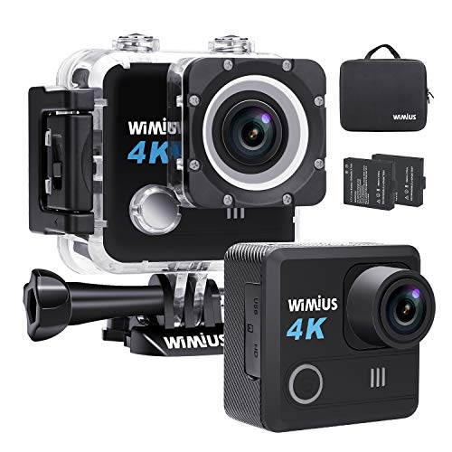 WiMiUS Action Cam 4K 20MP WiFi Ultra Full HD 30M Wasserdichte Sport Action Camera 2 Zoll 170° Weitwinkel Unterwasserkamera Helmkamera mit 2 Akkus und Kostenlose Zubehör (L1 Black)