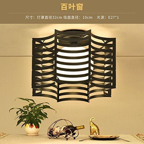 LIYJG Modernes, minimalistisches Schmiedeeiserne Deckenleuchte kreative Restaurant Schlafzimmer Balkon Gang Studie Kindergarten Lampen, Jalousien (Schwarz) + warmes Licht (24 Aluminium-jalousie)