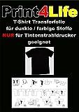 10Bl. T-Shirt Transferpapier für Dunkle Stoffe.Eine spezielle Transferfolie zum Bedrucken von schwarzen, farbigen, dunklen und hellen T-Shirts, Basecaps,Sweat-Shirts, Baumwoll-Taschen,Bettwäsche,Fahnen,....Sie erhalten 10 Blatt DIN A4 Transferfolie incl. einer Bedienungs- und Waschanleitunganleitung.Für JEDEN Tintenstrahldrucker und höchste Auflösungen bestens geeignet !Sie können diese Folie aber auch mit Kugelschreiber,Edding,Wasserfarbe beschriften und dann Aufbügeln !!!