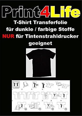 50 feuilles de format A4 T-shirt papier transfert pour Dark Stoffe.Eine papier de transfert spécial pour l'impression sur t-shirts noirs, de couleur, sombres et claires, casquettes de baseball, pulls, des sacs de coton, draps, drapeaux, .... vous obtiendrez 50 feuilles A4 film de transfert