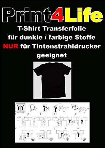 Preisvergleich Produktbild 20 Blatt T-Shirt Transferpapier für Dunkle Stoffe.Eine spezielle Transferfolie zum Bedrucken von schwarzen, farbigen, dunklen und hellen T-Shirts, Basecaps,Sweat-Shirts, Baumwoll-Taschen,Bettwäsche,Fahnen,....Sie erhalten 20 Blatt DIN A4 Transferfolie incl. einer Bedienungs- und Waschanleitunganleitung.Für JEDEN Tintenstrahldrucker und höchste Auflösungen bestens geeignet !Sie können diese Folie aber auch mit Kugelschreiber,Edding,Wasserfarbe beschriften und dann Aufbügeln !!!