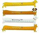 Spaufu 4x Righello Kawaii Forma di Cane per Studente Bambini Fornitura Scolastico 15 cm