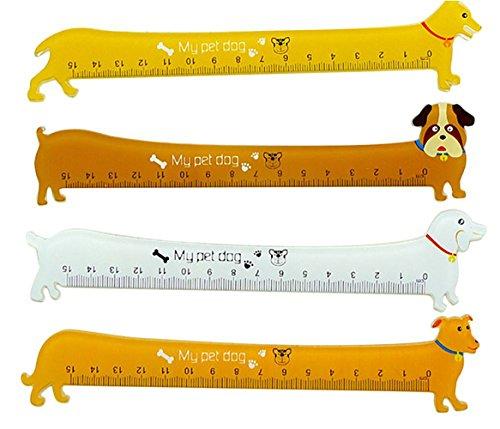 Demarkt Cartoon Lineal Hund Lesezeichen Tier Briefpapier für Schule Büro zufällige Farbe 15cm