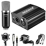 Neewer NW-700 Mikrofon & Phantom Power Set: (1) Kondensatormikrofon + (1) 48V Phantomspeisung + (1) Stromadapter + (1) XLR-Audiokabel + (1) Shock Montage + (1) Anti-Wind-Schaum-Kappe + (1) und Mikrofon Kabel