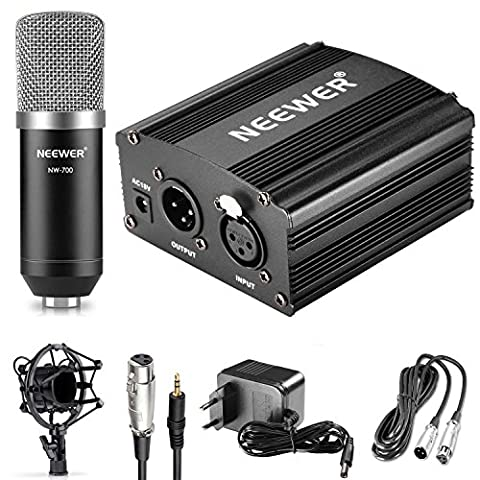 Neewer NW-700 Microphone et Alimentation Phantom Kit: (1) Microphone à