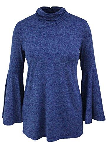 La Vogue-Maglietta Manica Tromba Sciolta Donna Slim T-shirt Ultra Maglia Irregolare Blu