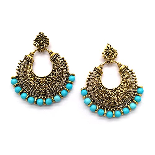 iKraft Oxidized Chandbali Earrings with Blue Beads German Silver Plated Antique Gold...