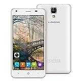 Landvo XM200 Pro Unlocked 4G Smartphone, 5.0 inch IPS HD Screen Android 6.0 MT6737 Quad Core 1.3GHz 2GB RAM+16GB ROM Dual SIM Mobile Phone with Dual Camera (5.0MP/2.0MP) Wifi Bluetooth GPS Smart Wake SIM-free Cellphone (White)