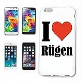 """Handyhülle iPhone 5 / 5S """"I Love Rügen"""" Hardcase Schutzhülle Handycover Smart Cover für Apple iPhone ... in Weiß ... Schlank und schön, das ist unser HardCase. Das Case wird mit einem Klick auf deinem Smartphone befestigt"""