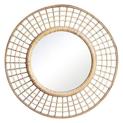 Lola Home - Espejo Sol de bambú Natural Beige Oriental para la Entrada de 60 cm Sol Naciente