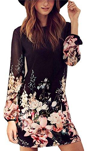 Arkind Robe Femme Fille Chiffon Jupe fleurs Dress Longue Manches Robe Charme Confortable Robe été Nouveau 2017 Noir