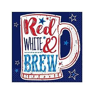 Amscan International-Servilletas de 50777700beverage-printedbn patriótica Pr-rojo Wht Brew