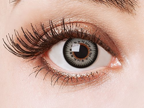 aricona Farblinsen - farbige Kontaktlinsen ohne Stärke – graue Circle Lenses, farbig bunte Augenlinsen, 12 Monatslinsen für Cosplay, Anime & Manga Big Eyes