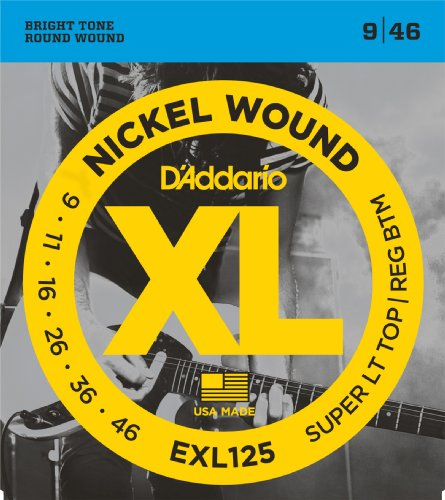 D'Addario EXL125 Satz Nickelsaiten für E-Gitarre 009' - 046' Super light Top/Reg Bottom (Guitar Electric 009 String,)