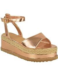 Sandales avec lanières - style espadrille/semelle plateforme épaisse - femme