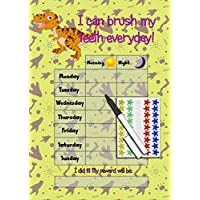 Happy Learners Teeth Brushing Reward Chart - Tooth cleaning routine & Star Stickers - BOYS DINOSAUR