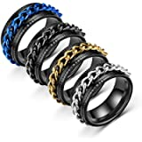 USUASI 4Pcs Stainless Steel Boys Ring Revolving Chain Crude Black, Chain Groove Blue/Gold Brushed Titanium Steel Carbide…