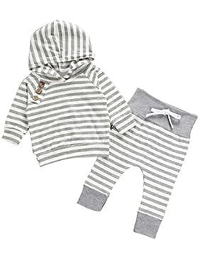Neugeborene Kinder Baby Mädchen Junge Outfits Kleidung Striped Hooded Pullover Hosen Anzug Hooded T-Shirt Tops...