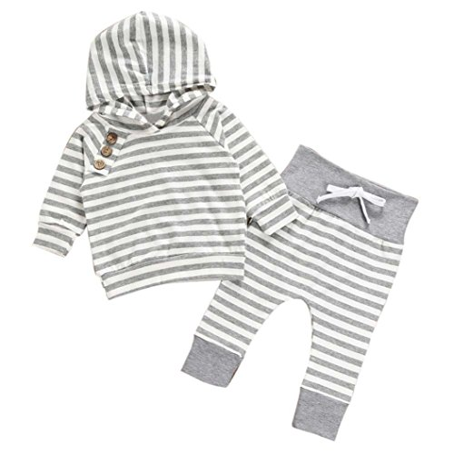 Neugeborene Kinder Baby Mädchen Junge Outfits Kleidung Striped Hooded Pullover Hosen Anzug Hooded T-Shirt Tops + Pants Set Simonabo (0-6M, (Baby Neugeborenen Anzüge)