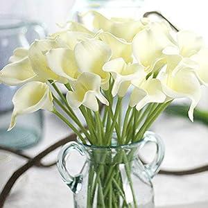 Homeofying – Ramo de flores artificiales de lirio para novia, boda, hogar, decoración romántica