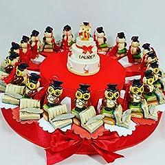 Idea Regalo - bomboniere Laurea Gufo su Libro su Torta portaconfetti Rossi - Torta con scatoline a Forma di Fetta + gufetti + Centrale + Confetti Rossi Cioccolato