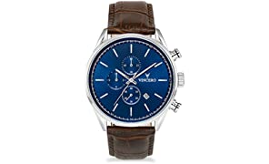 Vincero Luxury Men's Chrono S Wrist Watch - Blue dial with Brown Leather Watch Band - 43mm Chronograph Watch - Japanese Quartz Movement