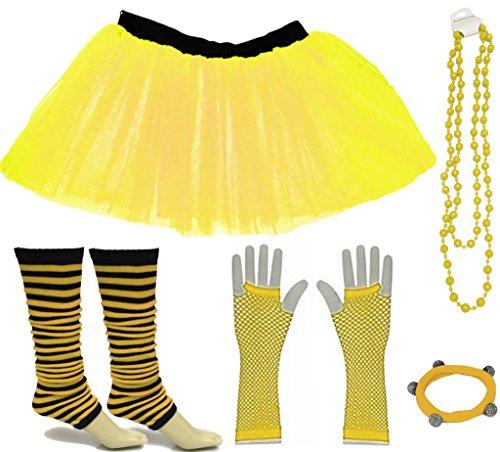 Neon Gelb Fischnetz (A-Express Gelb Mädchen Kinder 4-7 Jahr Neon Tütü Rock Gestreifte Beinstulpen Fischnetz Handschuhe Halskette Tüll Verkleidung Party TutuRock Kostüm Set)