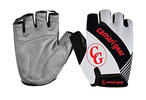 Camari Gear Sports Halbfinger-Fahrradhandschuhe (PAAR) Rennradfahren, Fahrrad, Mountainbike, Fitnessstudio, Fitness-Handschuhe für Männer und Frauen – Atmungsaktive, rutschfeste Handschuhe zum Radfahren (White/Black, Medium)